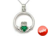14kt White Gold Medium Claddagh Pendant with Simulated Emerald - Chain Included style: CG17606