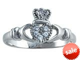 925 Sterling Silver Claddagh Ring with Cubic Zirconia (CZ) style: CG70088
