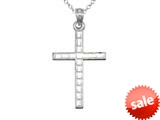 925 Sterling Silver Rhodium Medium Bright Cut Squares Cross Pendant Chain Included style: CG71002