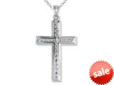 925 Sterling Silver Rhodium Large Bright Cut Center Cross Pendant Chain Included style: CG71006