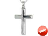 925 Sterling Silver Rhodium Large Stepped Cross Pendant Chain Included style: CG71007