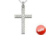 925 Sterling Silver Rhodium Large Diamond Cut Cross Pendant Chain Included style: CG71009
