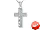 925 Sterling Silver Rhodium Small Diamond Cut Cross Pendant Chain Included style: CG71011