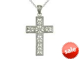 925 Sterling Silver Rhodium Medium Diamond Cut Cross Pendant Chain Included style: CG71013