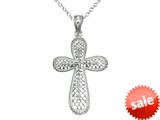 925 Sterling Silver Rhodium Medium Bright Cut Cross Pendant Chain Included style: CG71014