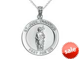 925 Sterling Silver Rhodium Large St. Jude Medal Pendant Chain Included style: CG71022