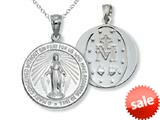925 Sterling Silver Rhodium Large Miraculous Medal Pendant Chain Included style: CG71023