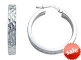 Stellar White™ Rhodium Round Medium Diamond Cut Hoop Earring