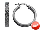 Stellar White™ Black Rhodium Diamond Cut Hoop Earrings