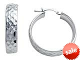 Stellar White™ Rhodium Medium Diamond Cut Hoop Earrings
