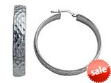Stellar White™ Rhodium Plated Large Diamond Cut Hoop Earrings style: SE1065