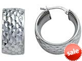 Stellar White™ Rhodium Diamond Cut Small Hoop Earings