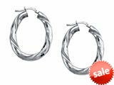 Stellar White™ Rhodium Oval Twist Hoop Earrings