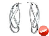 Stellar White™ Rhodium Twist Hoop Earrings style: SE1100
