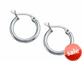 Stellar White™ Rhodium 2mm X 15mm Tubing Hoop Earrings style: SE1601