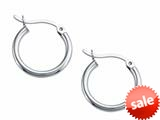Stellar White™ Rhodium 2mm X 17mm Tubing Hoop Earrings