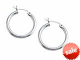 Stellar White™ Rhodium 2mm X 20mm Tubing Hoop Earrings