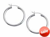 Stellar White™ Rhodium 2mm X 25mm Tubing Hoop Earrings