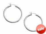 Stellar White™ Rhodium 2mm X 30mm Tubing Hoop Earrings