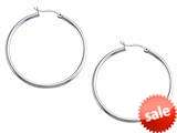 Stellar White™ Rhodium 2mm X 40mm Tubing Hoop Earrings