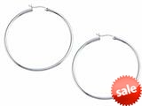 Stellar White™ Rhodium 2mm X 50mm Tubing Hoop Earrings