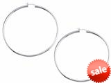 Stellar White™ Rhodium 2mm X 60mm Tubing Hoop Earrings