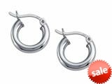Stellar White™ Rhodium 3mm X 13mm Tubing Hoop Earrings