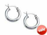 Stellar White™ Rhodium 3mm X 15mm Tubing Hoop Earrings