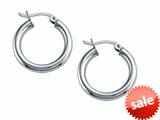 Stellar White™ Rhodium 3mm X 20mm Tubing Hoop Earrings