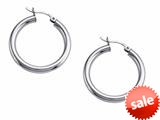 Stellar White™ Rhodium 3mm X 25mm Tubing Hoop Earrings