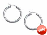 Stellar White™ Rhodium 3mm X 30mm Tubing Hoop Earrings