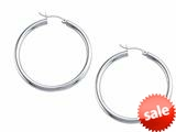 Stellar White™ Rhodium 3mm X 40mm Tubing Hoop Earrings