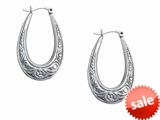 Stellar White™ Rhodium Oval Scribed Hoop Earrings