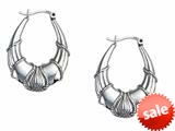 Stellar White™ Rhodium Oval Designed Hoop Earrings