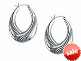 Stellar White™ Rhodium Oval Large Scribed Hoop Earrings
