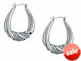 Stellar White™ Rhodium Large Oval Designed Hoop Earrings