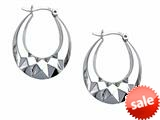 Stellar White™ Rhodium Medium Oval Polished Hoop Earrings