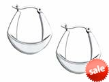 Stellar White™ Rhodium Polished Hoop Earrings