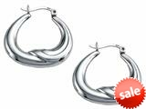 Stellar White™ Rhodium High Polished Earrings Hoops