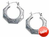 Stellar White™ Rhodium Polished Small Scroll Hoop Earrings