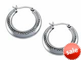Stellar White™ Rhodium Medium Polished Hoop Earrings