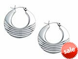 Stellar White™ Rhodium Polished Md Design Hoop Earrings