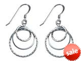 Stellar White™ Rhodium Diamond Cut 3 Circles Shepherd Earrings
