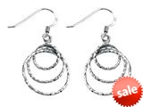 Stellar White™ Rhodium Diamond Cut Circles Shepherd Hook Earrings style: SE1655