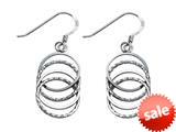 Stellar White™ Rhodium Alt 4 Circles Shepherd Hook Earrings style: SE1656