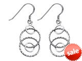 Stellar White™ Rhodium Alt Circles Shepherd Hook Earrings