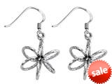 Stellar White™ Rhodium 3D Diamond Cut Shepherd Hook Earrings style: SE1660