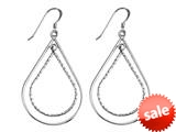Stellar White™ Rhodium Alt Large Pear Shepherd Hook Earrings