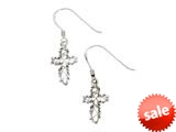 925 Sterling Silver Diamond Cut Dangle Cross Earrings Pendant style: SE1668