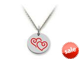Stellar White™ 925 Sterling Silver Disc Charm Double Hearts -  16 To 18 Inch Adjustable Chain Included